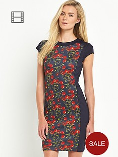 ted-baker-cherry-print-panel-bodycon-dress