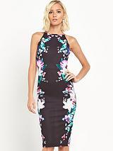 High Neck Side Print Bodycon Dress