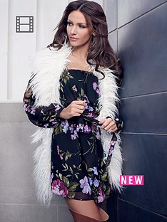 lipsy-michelle-keegan-floral-print-bardot-dress