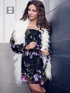 lipsy-michelle-keegan-floral-print-bardot-dress