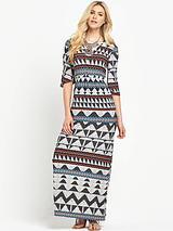 Jersey Deep V Neck Maxi Dress