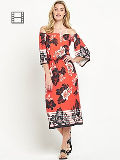 south-petite-tropical-bardot-midi-dress