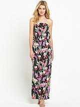 Tropical Jersey Bandeau Maxi Dress
