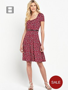 south-petite-animal-print-sweetheart-neck-tea-dress