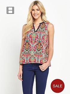 south-v-neck-boho-print-sleeveless-blouse