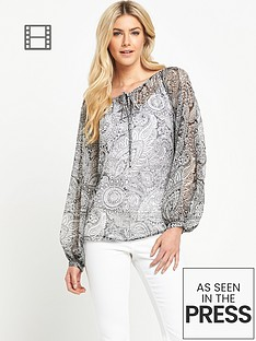 south-printed-split-sleeved-blouse