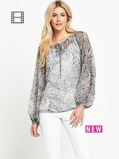 south-printed-split-sleeved-blouse
