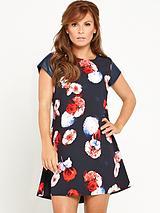Printed Dress with PU Sleeves