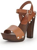 Wooden Heeled Platforms with Leather Straps