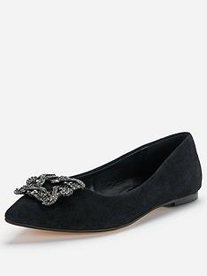 dune-briella-suede-jewelled-flats