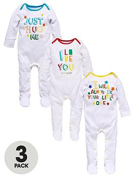 ladybird-baby-unisex-slogan-value-sleepsuits-3-pack
