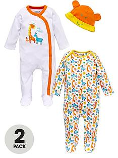 ladybird-baby-unisex-little-friends-sleepsuits-and-hat-3-piece-set
