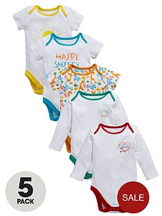 ladybird-baby-unisex-slogan-and-print-bodysuit-5-pack