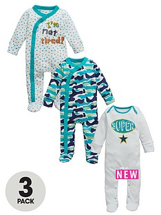ladybird-baby-boy-supercamo-sleepsuits-3-pack
