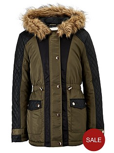 freespirit-girls-pu-panel-coat-with-faux-fur-hood