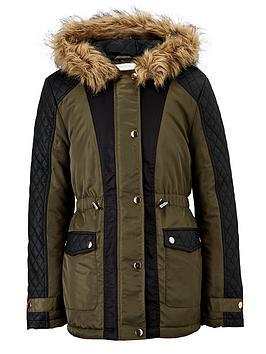 Freespirit Girls PU Panel Coat with Faux Fur Hood