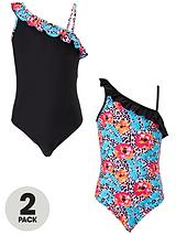 Girls One Shoulder Swimsuits (2 Pack)
