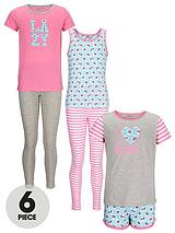 Girls Floral Pyjamas Set (6 Piece)