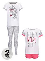 Girls Short/Long Pyjamas (2 Pack)