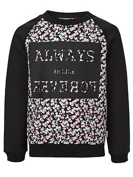 Name It Girls Printed Crew Neck Sweater