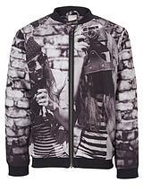Girls Photo Print Bomber Jacket