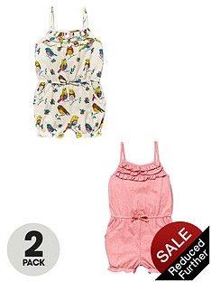 ladybird-toddler-girls-bird-print-and-marl-playsuits-2-pack