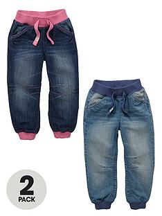 ladybird-toddler-girls-ribbed-cuffed-light-wash-and-dark-wash-jeans-2-pack