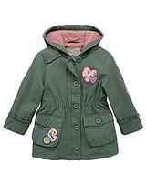 Toddler Girls Fleece Khaki Parka with Hood