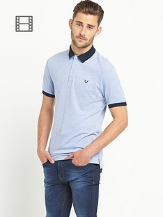 goodsouls-mens-blue-short-sleeve-pique-polo-top