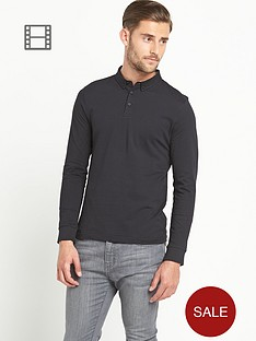 goodsouls-mens-long-sleeve-jersey-polo-top-black