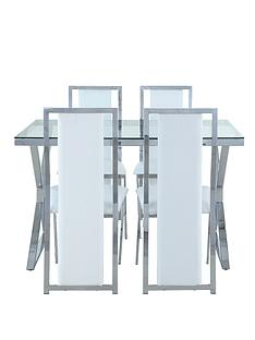 nevada-121-cm-chrome-and-glass-dining-table-4-faux-leather-chairs-clearwhite