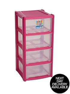 wham-4-drawer-tower-storage-unit-pink