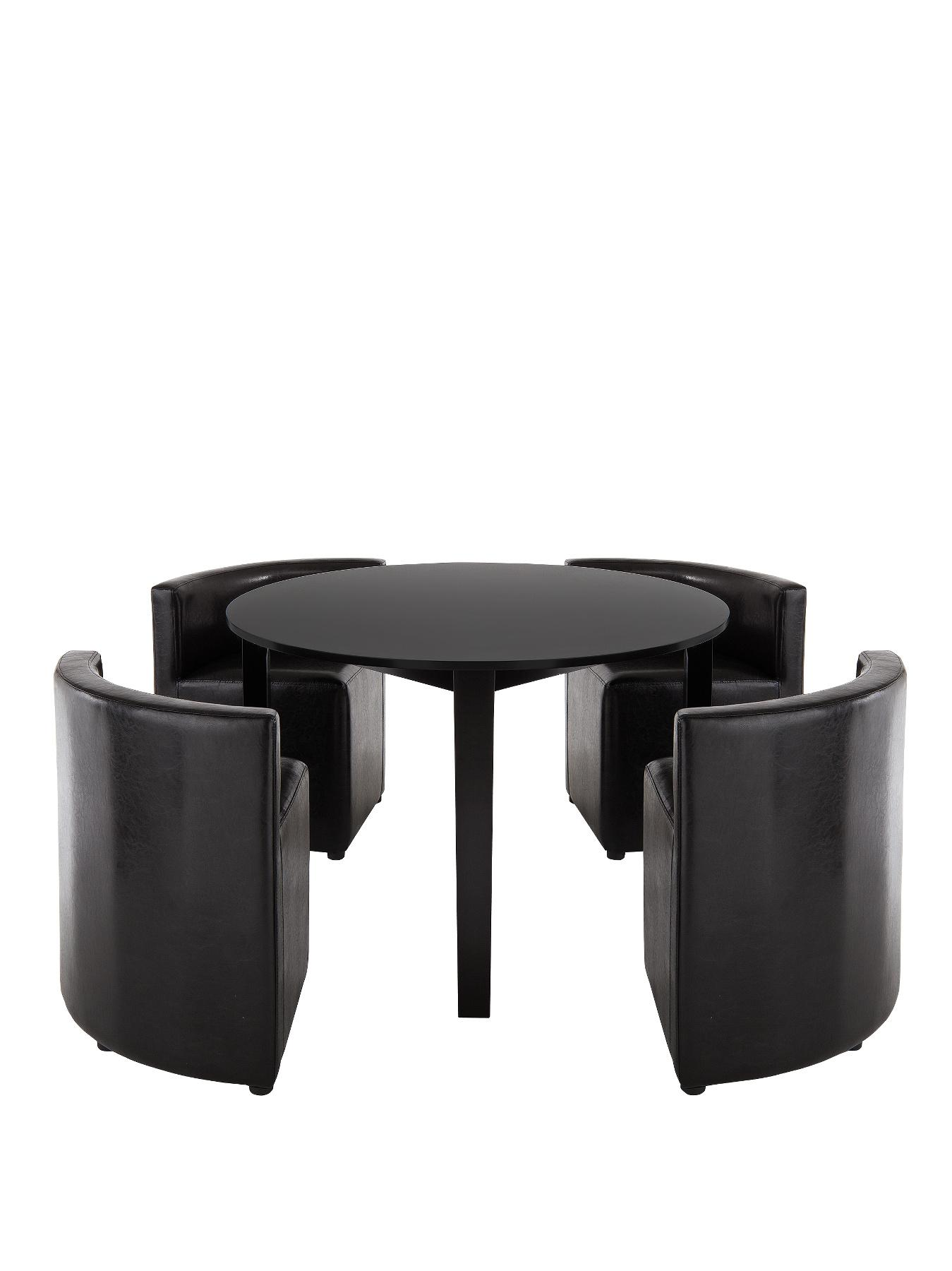 Hideaway 106 cm Round Dining Table & 4 Chairs (Black)