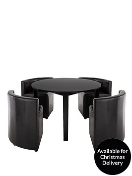 hideaway 106 cm round dining table 4 chairs