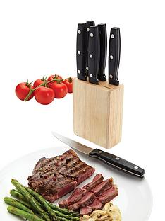 kitchen-craft-6-piece-steak-knife-set-with-wooden-block