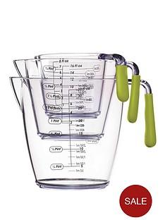 colourworks-3-piece-acrylic-measuring-jug-set-green