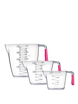 colourworks-3-piece-acrylic-measuring-jug-set-pink