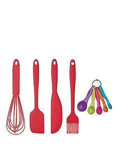 colourworks-5-piece-silicone-baking-and-preparing-set-red