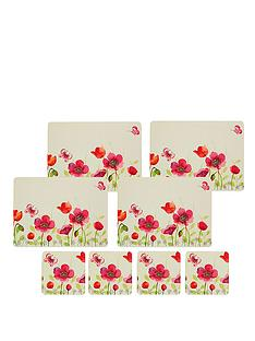 kitchen-craft-8-piece-cork-back-laminated-placemats-and-coaster-set-poppy-field