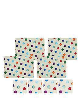kitchen-craft-8-piece-cork-back-laminated-placemats-and-coaster-set-polka-dot