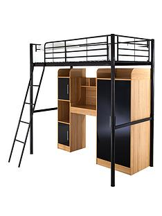 kidspace-ohio-high-sleeper-with-desk-wardrobe-storage-and-optional-mattress
