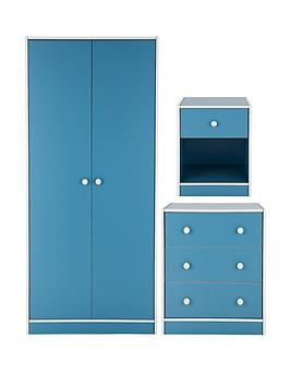 Kidspace Boston 3 Piece Kids Bedroom Furniture Set   Wardrobe, Chest Of  Drawers And Bedside Cabinet