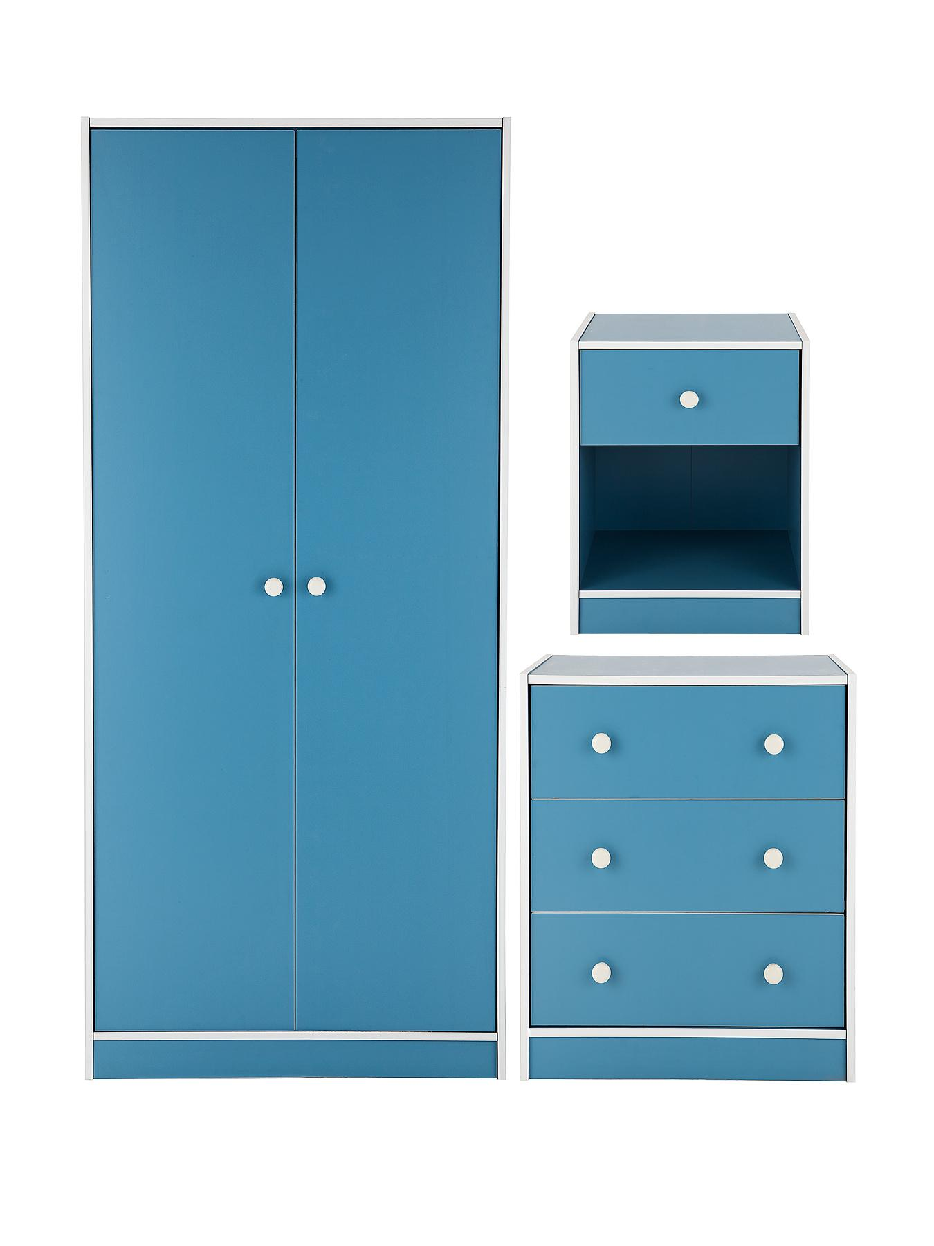 kidspace boston 3 piece kids bedroom furniture set wardrobe chest of drawers and bedside cabinet