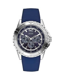 Guess Maverick Blue Sunray Multi Dial Blue Silicone Strap Mens Watch