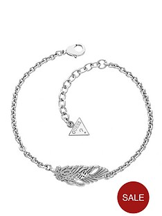 guess-rhodium-plated-city-of-angels-feather-crystal-set-bracelet