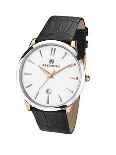 accurist-cream-dial-rose-gold-plated-and-silver-coloured-case-with-black-leather-strap-mens-watch