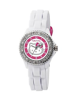 Hello Kitty Crystal Set White Silicone Strap Childrens Watch