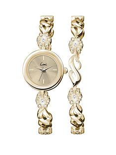 limit-ladies-gold-plated-stone-set-round-watch-with-champagne-dial-and-flower-with-matching-bracelet-double-set