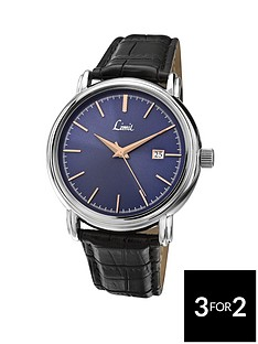 limit-blue-sunray-dial-with-date-black-strap-mens-watch