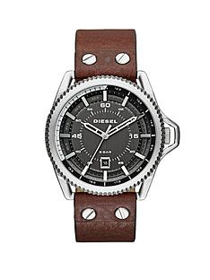 diesel-rollcage-gunmetal-dial-and-stainless-steel-with-dark-brown-leather-strap-mens-watch